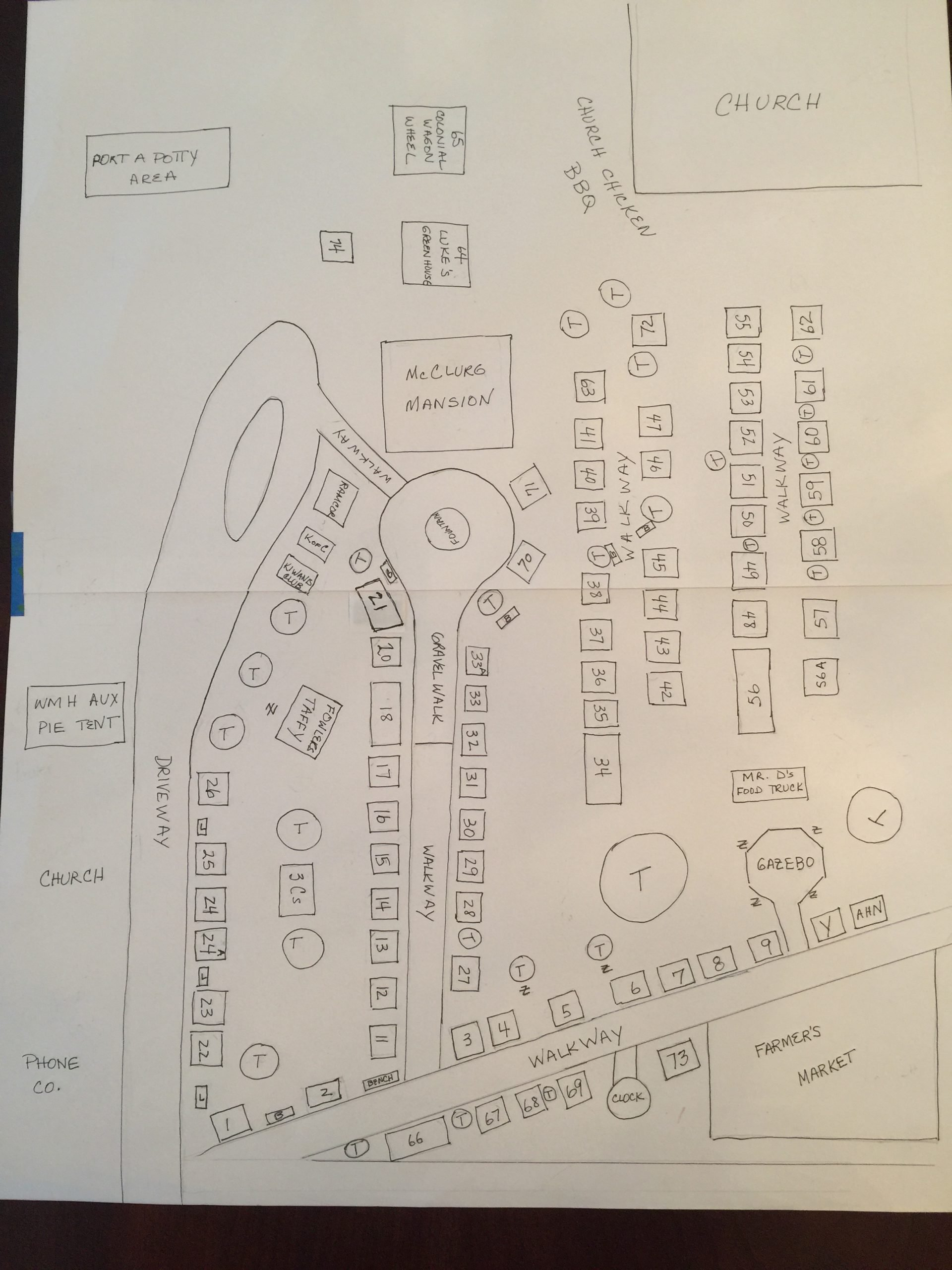YWCA Westfield Arts and Crafts Festival Map